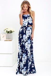 Love for Lanai Navy Blue Floral Print Two-Piece Maxi Dress at Lulus.com!