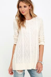 Log Cabin Cream Cable Knit Sweater at Lulus.com!