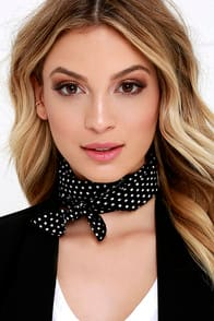 Trend Spotting Black and White Polka Dot Bandana at Lulus.com!