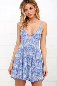 Samana Bay Blue Print Dress at Lulus.com!