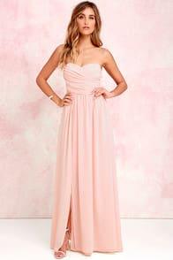 Moonlight Serenade Peach Strapless Maxi Dress at Lulus.com!