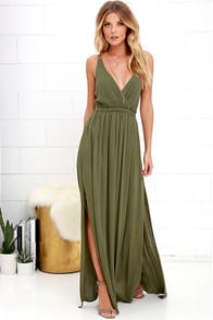 LOST IN PARADISE OLIVE GREEN MAXI DRESS at Lulus.com!