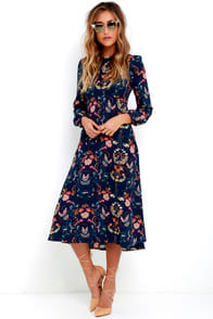 Garden Splendor Navy Blue Floral Print Dress at Lulus.com!