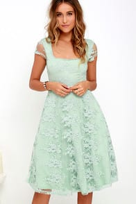 Sunny Feeling Sage Green Lace Midi Dress at Lulus.com!