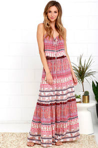 Mila Island Gypsy Red Print Maxi Dress at Lulus.com!