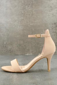 PUBLISHED AUTHOR NUDE NUBUCK ANKLE STRAP HEELS at Lulus.com!