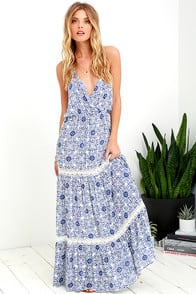 Relaxation Station Ivory and Blue Crochet Maxi Dress at Lulus.com!