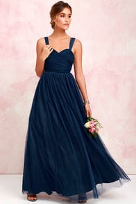 Sunday Kind of Love Navy Blue Tulle Gown at Lulus.com!