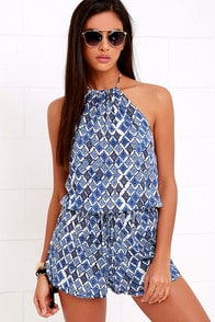 You Bet Ivory and Blue Print Halter Romper at Lulus.com!