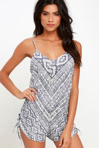 Billabong Keep Dreamin Blue Print Romper at Lulus.com!