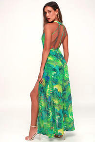 Tropic of Discussion Green Tropical Print Maxi Dress at Lulus.com!