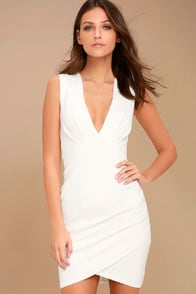 Cocktail Hour Ivory Wrap Dress at Lulus.com!