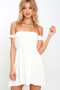 Sip on Sunshine Ivory Off-the-Shoulder Dress at Lulus.com!