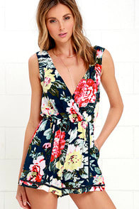 Mink Pink Nothing Like the Wild Blue Floral Print Romper at Lulus.com!