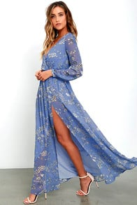 Wondrous Water Lilies Periwinkle Blue Paisley Print Maxi Dress at Lulus.com!
