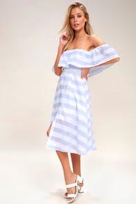 Transatlantic Voyage Blue and Ivory Striped Midi Dress at Lulus.com!