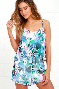 Jack by BB Dakota Aerona Blue Print Romper at Lulus.com!