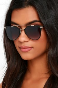 Awe and Wonder Black Sunglasses at Lulus.com!