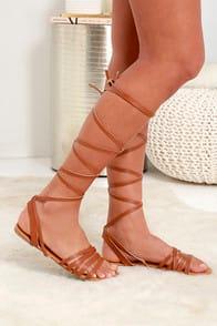 LULUS Topanga Tan Leg Wrap Sandals at Lulus.com!