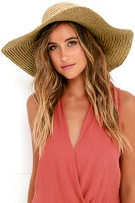Wish You Well Beige Floppy Straw Hat at Lulus.com!