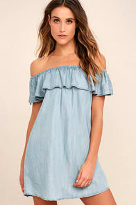 Standout Style Light Blue Chambray Off-the-Shoulder Dress at Lulus.com!