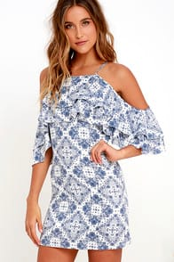 Feeling Swell Ivory and Blue Print Dress at Lulus.com!