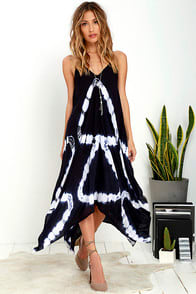Adventure Awaits Navy Blue Tie-Dye Dress at Lulus.com!