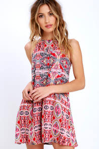 Design Major Red Print Swing Dress at Lulus.com!