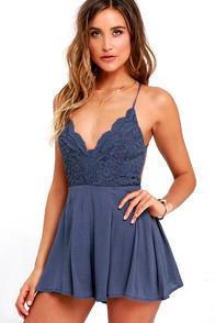 Star Spangled Indigo Backless Lace Romper at Lulus.com!