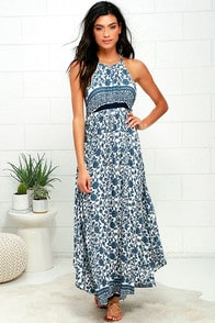Whirlpool Ivory and Blue Floral Print Maxi Dress at Lulus.com!