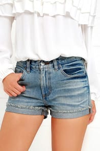 RVCA Wanderist Medium Wash Denim Shorts at Lulus.com!