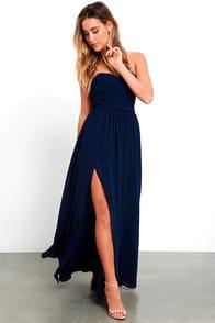 Moonlight Serenade Navy Blue Strapless Maxi Dress at Lulus.com!