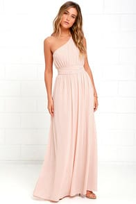 Looking Glass Blush One-Shoulder Maxi Dress! at Lulus.com!