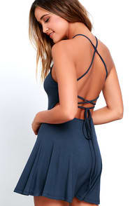 Tied Together Denim Blue Lace-Up Dress at Lulus.com!