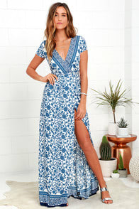 French Doors Ivory and Blue Floral Print Wrap Maxi Dress at Lulus.com!