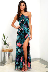 Next-Door Neighbor Black Floral Print Backless Maxi Dress at Lulus.com!