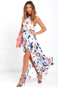 At Long Last Peach and Blue Floral Print Maxi Dress at Lulus.com!