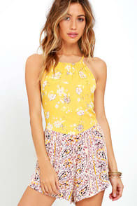 Billabong Sea Bound Yellow Print Romper at Lulus.com!