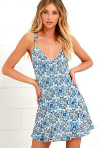 Pure of Heart Blue Print Skater Dress at Lulus.com!