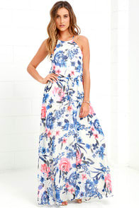 Gazebo Spirit Blue and Ivory Floral Print Maxi Dress at Lulus.com!