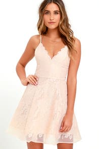 Keepsake Sundream Blush Lace Skater Dress at Lulus.com!