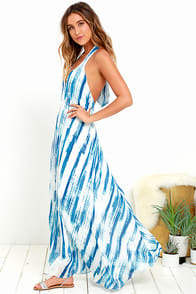 Wave To Go Blue Print Halter Maxi Dress at Lulus.com!