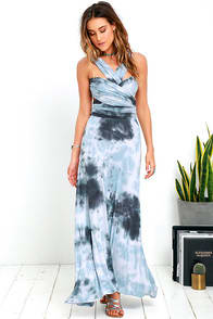 Tide and Seek Convertible Blue Grey Tie-Dye Maxi Dress at Lulus.com!