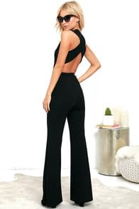 Thinking Out Loud Black Backless Jumpsuit at Lulus.com!