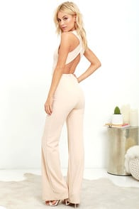 Thinking Out Loud Beige Backless Jumpsuit at Lulus.com!