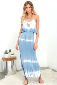 Always Artsy Grey Blue Tie-Dye Maxi Dress at Lulus.com!