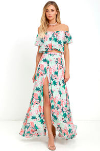 Bloom for Two Mint Floral Print Two-Piece Maxi Dress at Lulus.com!