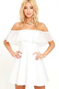 Flutter On By Ivory Off-the-Shoulder Skater Dress at Lulus.com!