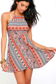 Modern Market Rust Red Print Halter Dress at Lulus.com!
