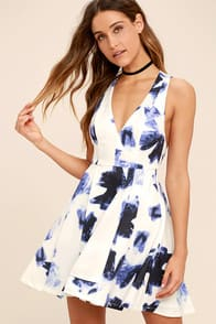 Seeing Chic Blue and Ivory Print Skater Dress at Lulus.com!